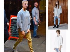 Hip Hop Reversible T-Shirt 3/4 Sleeve Justin Bieber Kanye West Style Top Rap Tee…