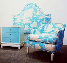 Quadrille Paradise Background headboard and chair by Again and Again Dallas.