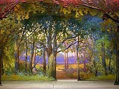 The Theatre Du Mississippi will showcase old theatrical backdrops in a program that coincides with the Great River Shakespeare Festival. This forest drop is among the seven that will be paired with snippets of theatrical text and classical music. Each drop was made around the early 20th Century for use during Masonic iniation ceremonies. (Photo courtesy of the Theatre Du Mississippi