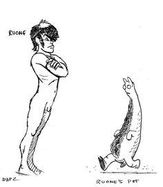 Islamundo, diseño de personajes: Ruone y mascota / Mondo Island, character design: Ruone and pet