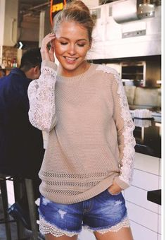 This taupe crochet knit pullover sweater is simply gorgeous and will in no time be your favorite Fall piece! Pair with our Addison Destroyed Jeans for a trendy Fall look