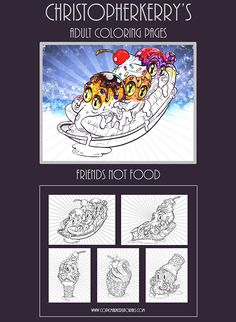 Five deliciously silly coloring pages for grown ups and never grown olds.  Perfect for adults, these pages have wide open spaces to let your creativity roam as you add in the details to personalize each page. These playful images will keep you focused and entertained. #coloringbook #adultcoloring