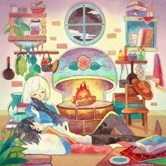 """""""Home is where your heart is"""" 🧡💫 Redrew my old watercolor painting of Howl and Sophie (and Calcifer)! 🔥 I added more stuff to their home… Hayao Miyazaki, All Studio Ghibli Movies, Art Studio Ghibli, Howl's Moving Castle, Anime Gifs, Anime Art, Totoro, Howl Et Sophie, Film Animation Japonais"""