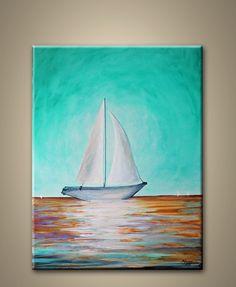 sail boatoriginal abstract by maggyart on Etsy, $89.00