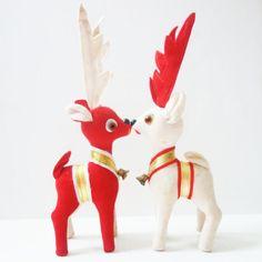 Mid Century Velveteen Reindeers.