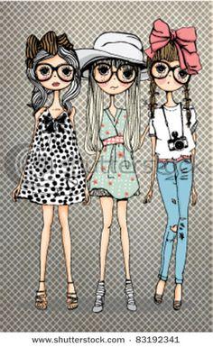 ★彡(*☻-☻*) friendly girl illustration