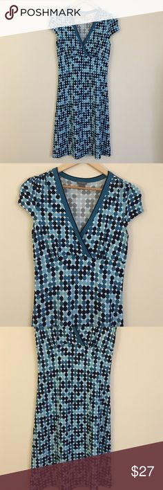 """NWOT Ann Taylor 6 a-frame fitted vneck midi flare Flattering and feminine NWOT Ann Taylor 6 a-frame fitted vneck midi flare blue polka dot dress with side zipper. Dimensions taken while garment is laying flat: 16"""" across shoulders, 34"""" bust, 30"""" waist, 32"""" hips, 5"""" sleeve length, length from shoulder to bottom hem 30"""". Ann Taylor Dresses Midi"""