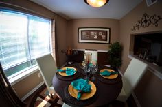 Lovely dining room space! #laspalmasatl #ventronmanagement #atlantaapartments Atlanta Apartments, Dining Room, Space, Table, Furniture, Home Decor, Las Palmas, Floor Space, Decoration Home
