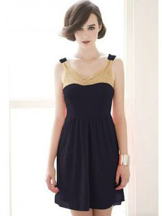 Catching Backless High Low Hem Navy Dress with Bead
