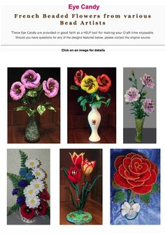 Beautiful French Beaded Flowers featured in recent Bead-Pattern.com Newsletter