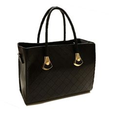 British Style Solid Color and Checked Design Women's Tote Bag