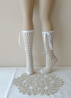 Wedding Stockings  Crochet socks & ribbon Wedding  #Booties #Homeslippers  #yoga #socks #shoes #babet #Slippers #balletflats #pilates #yogasocks #socks #womensocks #weddingsocks