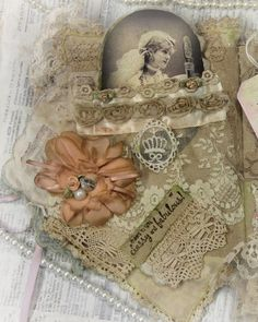 Memories Book Fabric BookMixmediaLace BookCollage Book by KHATSART
