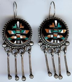 JOHN GORDON LEAK VINTAGE ZUNI INDIAN STERLING SILVER INLAID KNIFEWING MAN EARRINGS