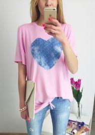Light pink O-Neck Short Print Regular Tees & T-shirts