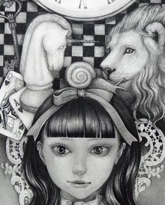 ALICE IN WONDERLAND BY KAORI OGAWA Dark Alice In Wonderland, Adventures In Wonderland, Lewis Carroll, Alice In Wonderland Illustrations, Visual Memory, Fluffy Animals, Through The Looking Glass, Neko, Pencil Drawings