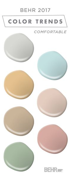 This comfortable color palette from BEHR's collection of 2017 Color Currents is full of soft neutrals and subtle pastel colors. Mix and match these soft shades to create the perfect design scheme for any room in your home. Check out the rest of this article to find inspiration for unique color schemes and home decoration ideas.