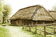 A house roof made out of grass- very typical old style of Poland