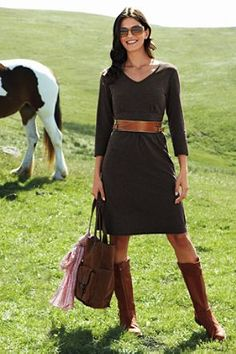 Like this dress for fall! Land's End 3/4-sleeve knit dress ; leather equestrian belt