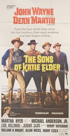"""""""The Sons of Katie Elder"""" directed by Henry Hathaway with John Wayne and Dean Martin. Old Movies, Vintage Movies, Great Movies, The Great Train Robbery, Dean Martin, Martin Movie, Western Photo, John Wayne Movies, Drive In Movie Theater"""