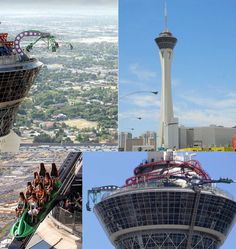 "The Stratosphere Las Vegas.     ""Refused to ride the roller coaster!  But the view from the top at night is spectacular."""