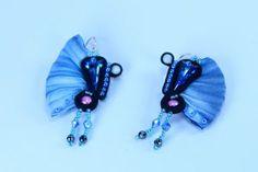 Shibori earrings, shibori jewelry, silk jewelry, dangle soutache earrings, swarovski earrings, blue jewelry, gift for women, gift for mom, gift for sister Soutache Earrings, Dangle Earrings, Gifts For Girls, Gifts For Mom, Sister Gifts, Shibori, Dangles, Swarovski, Silk