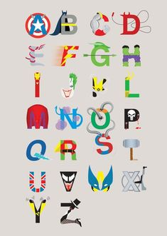 letters of the alphabet super heroes - Bing Images Superhero Alphabet, Superhero Room, Superhero Party, Batman Party, Alphabet Print, Schrift Design, Boy Room, Creations, Nerd