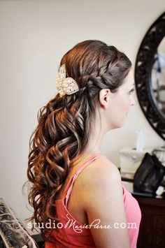 half updo with braid