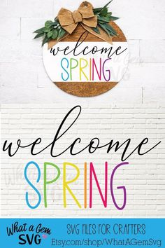 Spring Projects, Spring Crafts, Craft Projects, Welcome Spring, Spring Sign, Welcome Signs Front Door, Wood Front Doors, Spring Aesthetic, Wood Rounds