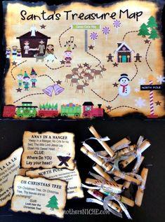 Santa's Christmas Treasure Hunt + Clues Printables