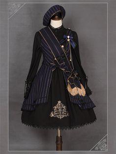 Ista Maiden -The Cornelia Academy- Striped Lolita Jumper Dress,Lolita Dresses, Cosplay Dress, Cosplay Outfits, Edgy Outfits, Pretty Outfits, Pretty Dresses, Cute Outfits, Kawaii Fashion, Cute Fashion, Old Fashion Dresses