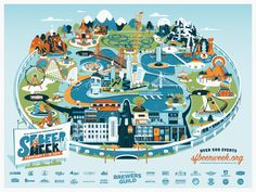 Poster for SF Beer Week 2014. Theme park map based on iconic Northern California breweries. Divided into 4 lands (clockwise from bottom center) SF Brewers Guild, South Bay, North Bay, East Bay.