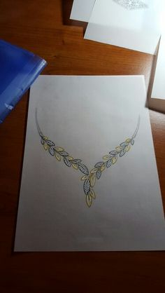 . Gold Pearl Necklace, Necklace Set, Necklace Drawing, Jewelry Design Drawing, Jewelry Illustration, Jewellery Sketches, India Jewelry, Diamond Jewelry, Wedding Jewelry