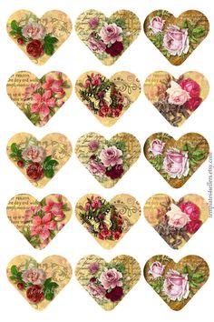 Digital Collage Sheet Vintage Roses 1 inch heart shape images  Original  Printable 4x6 inch sheet Sc Decoupage Printables, Printable Scrapbook Paper, Scrapbook Stickers, Printable Stickers, Decoupage Vintage, Decoupage Paper, Vintage Valentines, Valentine Crafts, Vintage Cards