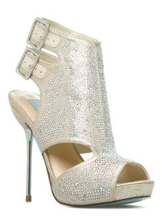 Crepe Rhinestone Embellished Cut-out Bootie