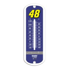 """NASCAR Jimmie Johnson 12"""" Metal Thermometer by BSI. $14.91. Our 12"""" thermometer is made from an enamel coated metal and is great for outdoor use. The print comes with a special UV protection coating to keep colors bright. The thermometer has both farenheight and centigrade temperature markings for easy reading and will measure temperatures from 40 below to 120 F. Mounting hardware not included.Officially licensed with driver graphics."""