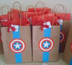 Groomsmen gift bag wrapping idea decor usher gift wedding suit sack tuxedo present bow tie decoration button detail mens manly bag cute Batman Party, Superhero Birthday Party, 4th Birthday, Captain America Party, Captain America Birthday, Avenger Party, Wonder Woman Party, Lunch Boxe, Baby Party