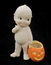 Kewpie with Halloween Pumpkin Bisque Porcelain Figurine 1993 JescoRose O'Neill