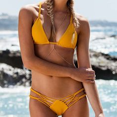 Sexy Fashion Crochet Hollow Out Halter Beach Bikini Set Swimsuit Swimwear