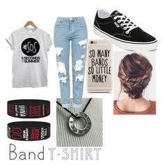 """Band T-Shirt 5SOS Fam"" by annalynharrington ❤ liked on Polyvore featuring Topshop, Vans, bandtshirt and bandtee"