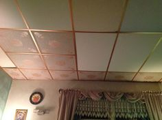 A Great And Affordable Way To Update Ugly Discolored Drop Tile Ceiling With Only