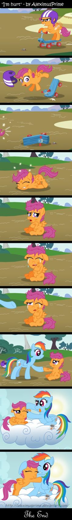 Scoots: thanks mommy.(sniff sniff) Rd: shh it's ok the pain will stop soon. Scoots: ok Rd: here lay on my chest and relax(lays down) Scoots: thanks *yawn* ( falls asleep) Rd: (pets her mane) that's my girl,sleep tight my little scootaloo Rainbow Dash, Deviantart Comic, Rick And Morty Crossover, Im Hurt, Cute Sister, My Little Pony Cartoon, Sweetie Belle, Cute Ponies, Mlp Comics