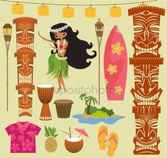 Download - Hawaii Symbols and Icons — Stock Illustration #27317331