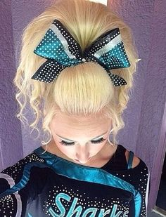 Cheer Sport Sharks -- perfect cheer hair and cheer makeup / saved from Becca Clark All Star Cheer, Cheer Mom, Dance Hairstyles, Cheer Hairstyles, Love Hair, Big Hair, Great White Sharks Cheer, Cheer Funny, Cheer Team Pictures