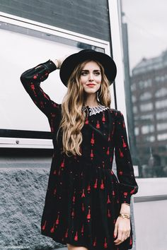 New_York_Fashion_Week-Spring_Summer-2016--Street-Style-Chiara_Ferragni-SAint_Laurent_Dress-HAt-