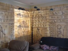 """Finished the walls for our Egyptian theme this year. The partitions are made out of 3/4"""" styrofoam with the hieroglyphs burned in and then ..."""