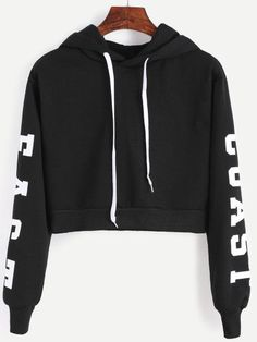 Black Hooded Letters Print Crop Sweatshirt -SheIn(Sheinside) Mobile Site