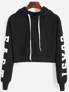 Black Hooded Letters Print Crop Sweatshirt -SheIn(Sheinside) Mobile Site