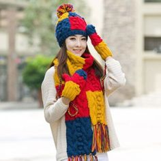 Plaid knit hat scarf and gloves set for women winter wear