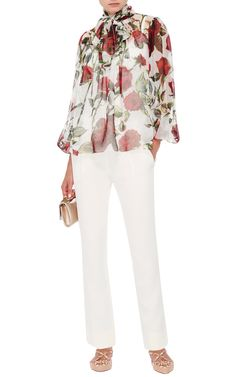 White Silk Printed Flower Blouse by Dolce
